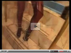 Hot milf gives a footjob with black pantyhose
