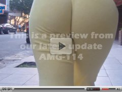 Latin Teen in Tight Yellow Pants showing ass and cameltoe