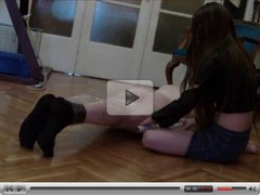 Feet slave under Teen Domina