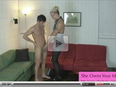 JC Simpson Ballbusting Handjob Cum on Pantyhose