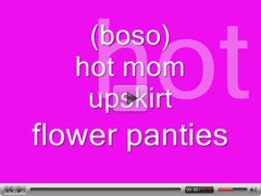 (boso) hot mom upskirt flower panties