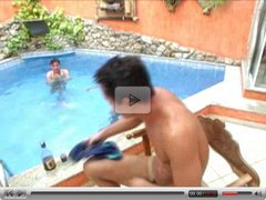 Gay Double Anal By The Pool