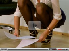 Office girl squatting upskirt in pantyhose
