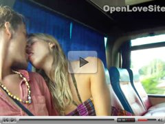 Public blowjob in a bus