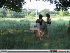threesome with 2 girls on picnic blanket