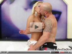 Blonde shemale has a thick cock in stud's mouth