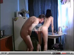 Russian amateur sex on kitchen 3