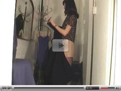 Voyeur of girl in changing room, in pantyhose