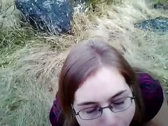 British slut outdoor cum swallow