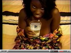 Black beauty with big jugs sucks white cock