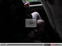 White Stockings Flashing in Bus