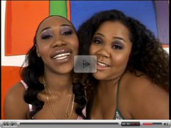 Beautiful black lesbians with thick asses oil themselves and fuck with toys