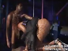 Ebony slut gets a hard big black cock in her ass