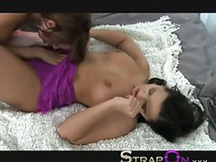 StrapOn Gina Devine fucking Eve Angel with a pink vibrating sex toy