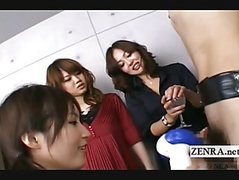 Subtitled Japanese CFNM amateur group femdom with toys