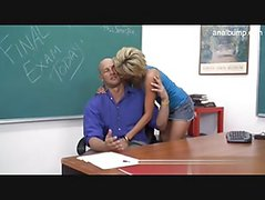 Beautiful blonde student is the teachers pet