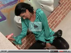 Gloryhole is visited by naughty mature raven