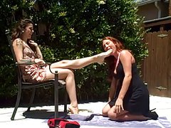 lesbian slave eat on mistress foot