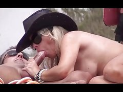 Blonde Milf Blowjob in Nudist Club