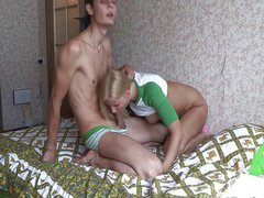 Sexy blonde gives BF powerful orgasm