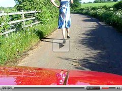 Crossdresser flashing in the countryside