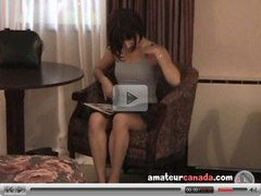 Petite tiny teen Angela on chair reading porn and fingering