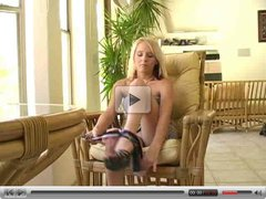 Alex,superb blonde chick undresses on a chair!!
