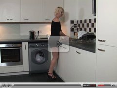 British pornstar Cyprus Isles masturbates in the kitchen