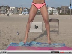 Hot Bikini Girl does Gymnastic on the beach