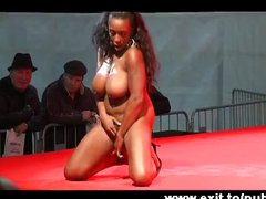 Public stage Solo Ebony and busty Alicia