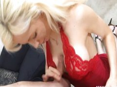 Hot blonde milf blowjob skills