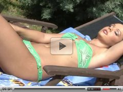 Super Hot brunette babe Jo sunbathing