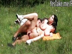 Busty gf Daisy Lee pounded in the woods
