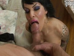 Tattooed TS Foxxy blowjob and anal