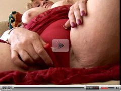 Beautiful blonde BBW shows off her lovely large boobs and
