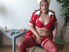 Mature mom masturbates in kinky nurse uniform