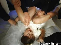 Asian bride gets hardcore group fucking
