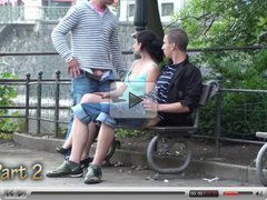 Gangbang with a cute teen in the middle of a city center P 2