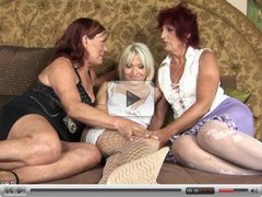Two amateur mature lesbians share a hot girl