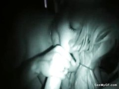 Girlfriend giving blowjob caught on cam