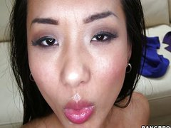 Hot Asian Takes A Huge Load In Her Mouth
