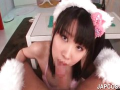 Teen asian nymph giving blowjob in POV style