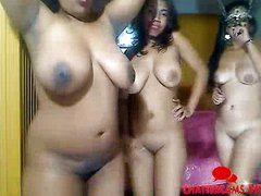 Three Black Girls Naked Dance Party