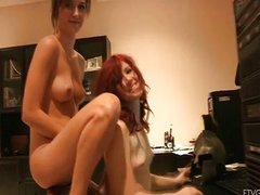 Two naked girl play in video game
