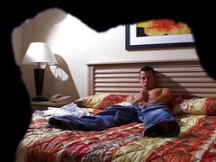 Horny guy wanking on his bed