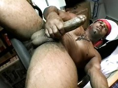 Big black dick rubbed in the back office