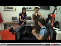 Two very angry driving instructors punish a slave