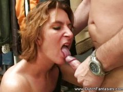 Brunette blowjob and fucking