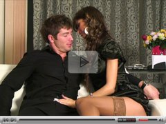 Lustful boy-friend easily seduces neat girl in the bedroom