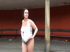Girlfriend Sarah Jane flashing nude in public